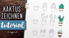 Schritt für Schritt Anleitung, wie du ganz einfach hübsche Kaktus-Motive zeichnen kannst. Sie eignen sich perfekt als Deko für dein Bullet Journal. Bullet Journal Doodles, Blog, Step By Step Instructions, Bullet Journal Ideas, Cactus, Tutorials, Blogging