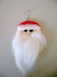 Needle Felted Santa Tree Decoration by CosyCatCrafts on Etsy, £2.50