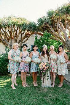 Casual wedding party. I like the different prints on the dresses | I ...
