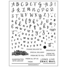 """CONCORD & 9th: Perfectly Penned (6""""x 8"""" Clear Photopolymer Stamp Set) It's a triple alphabet, with numbers & symbols, and even includes sentiments to dress up your envelopes and tags - all in one larg"""