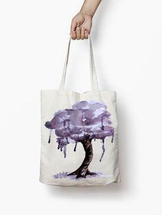 Lila Baum Stoffbeutel Aquarell Kunst Tasche Canvas von shoptota