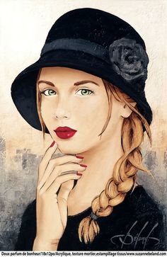 """""""Sweet Perfume of Happiness"""" -- from the artist's 'Romantic' series -- by Suzanne Béland, French Woman Drawing, Woman Painting, Portrait Art, Face Art, Art Girl, Vintage Art, Amazing Art, Photo Art, Watercolor Paintings"""
