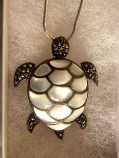 Silver Mother of Pearl Articulated Turtle by OnceAgainTreasure