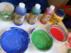 It's a simple mixture of cornstarch, water, and finger paint, which creates puff paints.