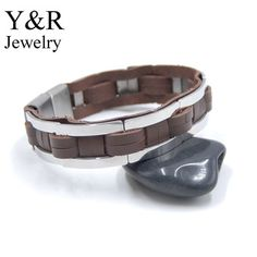 Stainless Steel Woven Leather Bracelet Mens Magnetic-Clasp Genuine Leather Bracelet Wholesale