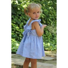 Stripes never looked this good! Sleeveless girls dress with a ruffle collar that meets in the back in a deep V. Girls Dresses, Summer Dresses, Ruffle Collar, Pink Stripes, Seersucker, Cotton Linen, Girl Fashion, Color Blue, Empire
