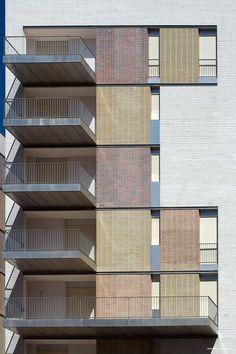 """ABDR Architetti Associati, Moreno Maggi · Progetto Di Riqualificazione """"giustiniano Imperatore"""" · Divisare Facade Design, Architecture Design, Facade Pattern, Brick Detail, Brick Facade, Building Facade, Open Concept, Skyscraper, Multi Story Building"""