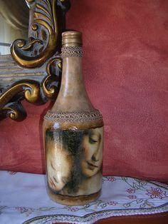 Μπουκάλι ντεκουπάζ κλασσικό σκούρο! Decoupage bottle classic dark! Decoupage, Wine Bottle Crafts, Corks, Bottles, Shabby Chic, Diy, Glass, Home Decor, Decorated Wine Bottles