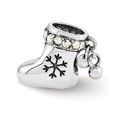 Swarovski Elements Christmas Stocking Charm in Sterling Silver -- Check this awesome product by going to the link at the image.