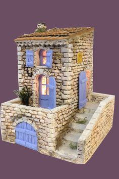 Santons Atelier de Fanny-Santons et Crèches de Noël-Santons de Provence - Maison de village n°3 - 52.00 EUR Clay Houses, Ceramic Houses, Miniature Houses, Diorama, Fairy Garden Houses, Small World, Little Houses, Cottage Chic, English House