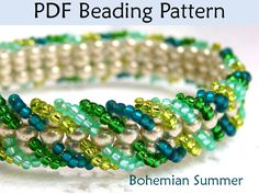 Bohemian Summer Ladder Stitch Bracelet Beading Pattern