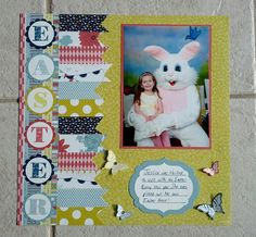 Super cute Easter scrapbook layout by Jenny G Paper Crafts!  You can give your cardstock cuts a 3-dimensional look just by bending up the corners like done on the butterflies in this layout.  Find lots of patterned cardstocks for your projects at www.cardstockshop.com!