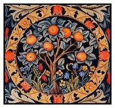 William Morris Orange Tree Detail Counted Cross Stitch Chart by Orenco Originals #OrencoOriginals #OrencoOriginals