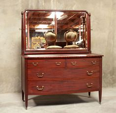 LINE #1356  1151 : AMERICAN MADE MAHOGANY ANTIQUE DRESSER w/ MIRROR