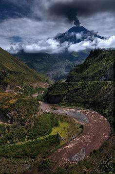 Tungurahua Volcano near Banos, Ecuador during the eruption of December, 2011.