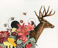 Bilderesultat for stag painting flower