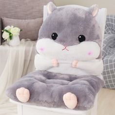 Cheap cushion pillow, Buy Quality cushion design directly from China designer cushions Suppliers: Newest Plush Lovely Cartoon Design Seat Cushion Lumbar Back Support Cushion Pillow for Office Home Car Seat Chair Chair Pads, Chair Cushions, Bear Sleeping Bags, Girls Bedroom, Bedroom Decor, Hamster House, Cute Furniture, Cute Hamsters, Cute Room Decor