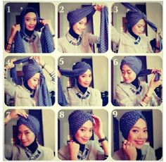 Tutorial Hijab TUrban,, bisa dikreasikan untuk ke kantor :) - Another! Turban Mode, Turban Hijab, Turban Tutorial, Hijab Tutorial, Head Scarf Tutorial, Hair Wrap Scarf, Head Scarf Styles, African Head Wraps, Turban Style
