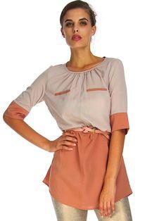 TERRACOTTA TWO TONE TUNIC Affordable Fashion, Terracotta, Ruffle Blouse, Tunic, Long Sleeve, Sleeves, Shopping, Tops, Women