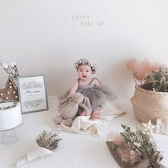 Birthday Girl Pictures, Girl Birthday Themes, Birthday Decorations, Half Birthday Baby, Birthday Table, Cute Kids Pics, Cute Baby Pictures, Baby Wedding Outfit, Baby Girl Dresses Diy