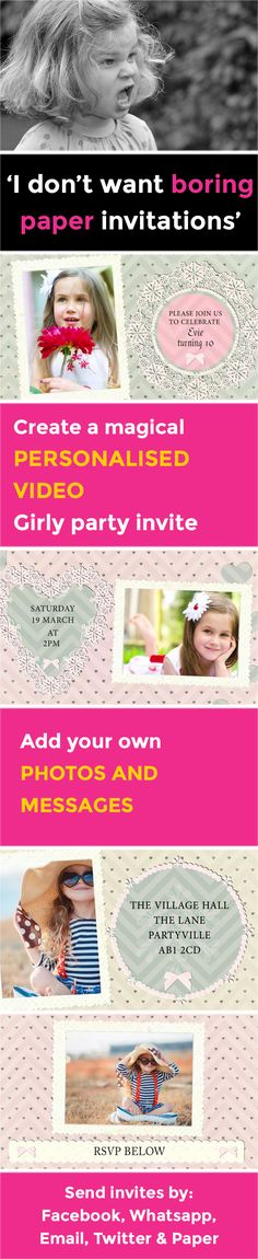Create a magical VIDEO party invitation - www.poshtiger.co Online Birthday Invitations, Party Invitations Kids, Invitation Paper, Invites, Girly Girl, Rsvp, Messages, Posts, Create