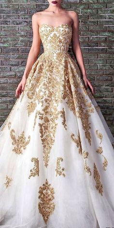 White and gold lace ball gown,A-line sweetheart long prom dress,evening dress