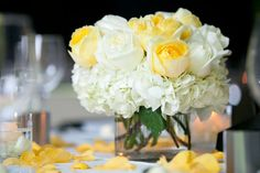 theWit Hotel Wedding by Laura Witherow Photography Yellow Flower Arrangements, Beautiful Flower Arrangements, Beautiful Flowers, White Centerpiece, Rose Centerpieces, Centrepiece Ideas, Centrepieces, Light Yellow Weddings, Flower Decorations