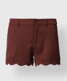 These lightweight linen shorts have scalloped hems, zipper and latch fly, hand and back pockets.