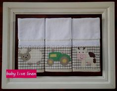 Farm themed burp cloth set. Burp Cloth Set, Farm Theme, Baby Love, Decorative Items, Crafts To Make, Nursery, Sewing, Frame, How To Make