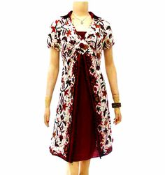 dress batik putih merah modern BD16 di koleksi http://sekarbatik.com/dress-batik/
