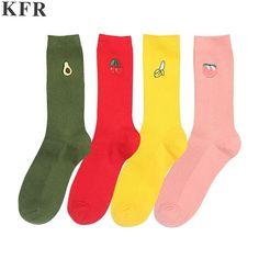567fed1a8134 Pink Cute Sock Christmas Winter Avocado Kawaii Women Cotton Long Socks Warm Happy  Funny Art Harajuku