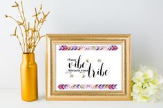 Your Vibe Attracts Your Tribe quote- I have always loved the boho feel, and this was inspired by my daughter. This inspirational quote is perfect to frame and hang in any room. Would also be a great addition to office decor. Simple wall decor, perfect for the everyone. This is a digital product. No physical item will be shipped. Measures 8 x 10 and can be easily printed from your home computer or local print shop. Comes as a high resolution jpeg file AND pdf with trim marks. You can print…