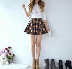 27 Most Cute Outfits for School for Girls to Wear This Fall - outfits - School Outfits Cute Skirt Outfits, Cute Skirts, Girly Outfits, Cute Dresses, Casual Outfits, Really Cute Outfits, Cute Outfits For School, Outfits For Teens, Fall Outfits