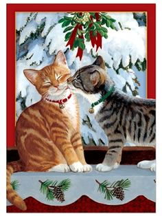 Kitten Kiss - Pack of 6 Tree Free Christmas Greeting Cards 11268 Christmas Cards~Kitten Kiss - Pack of 6 Tree Free Christmas Greeting Card~Reduce, Reuse, Rejoice! - Give warm greetings with Tree Free this Christmas without warming the planet~All T Cat Christmas Cards, Christmas Animals, Vintage Christmas Cards, Christmas Pictures, Christmas Greetings, Christmas Kitty, Christmas Tree, Funny Christmas, Christmas Holiday