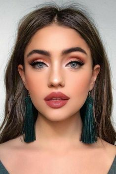 Glam Makeup Look, Wedding Makeup Looks, Cute Makeup, Hair Makeup, Eyeshadow Makeup, Red Makeup, Kylie Makeup, Brown Makeup, Bold Lip Makeup