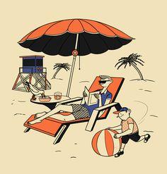 Summertime by Janne Iivonen, via Behance Type Illustration, Ligne Claire, Reading Art, Travel Images, Free Illustrations, Summertime, Character Design, Cartoon, Wallpaper