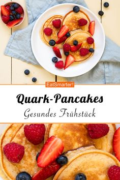 Brunch Recipes Quark pancakes with fruit salad - smarter - calories: 445 kcal - time: 20 min. Clean Eating Recipes For Dinner, Clean Eating Breakfast, Clean Eating Meal Plan, Clean Eating Snacks, Healthy Fruits, Healthy Snacks, Fruit Pancakes, Snacks Sains, Clean Eating For Beginners