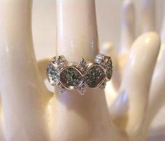 Vintage Emerald Cross Ring  Sterling Silver by PureJewelryElegance