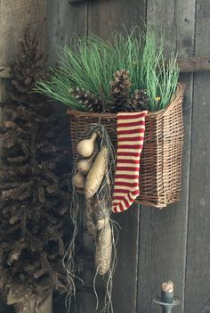 Basket w Greenery Stocking Gourds Pinecones | eBay