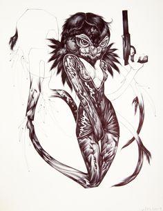 Omnia Owl by Katherine Brannock Tattoo Art, Modern Art, Owl, Owls, Contemporary Art, Contemporary Artwork, Ink Art