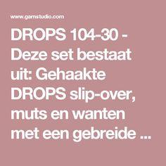 """DROPS 104-30 - Deze set bestaat uit: Gehaakte DROPS slip-over, muts en wanten met een gebreide boord van """"Eskimo"""". Maat S t/m XXXL. - Free pattern by DROPS Design"""