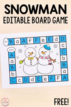 A fun editable board game for winter math and literacy centers in kindergarten, preschool, first grade and second grade. Kindergarten Language Arts, Kindergarten Centers, Kindergarten Reading, Literacy Centers, Printable Activities For Kids, Preschool Printables, Learning Stations, Kindergarten Activities, Board Games