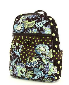 Brown Floral with Green Dot Quilted Backpack  e2dc6cbe379ef