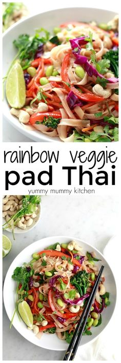 This easy vegetarian, vegan, and gluten free pad Thai recipe is loaded with colorful vegetables like broccoli, bell pepper, and edamame and coated with a delicious homemade pad Thai sauce.