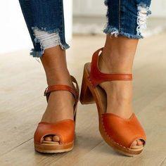 Plain Chunky High Heeled Ankle Strap Peep Toe Date Travel Platform Sandals - Moda daily Chunky Sandals, Chunky High Heels, Thick Heels, Strap Sandals, Wedge Sandals, Sport Sandals, Heeled Sandals, Peep Toe, Style Casual