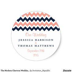 The Modern Chevron Wedding Collection- Pink & Navy Classic Round Sticker