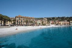 Santa Margherita Ligure, Italy.  A beautiful flat sandy beach with crystal clear water and no rocks!