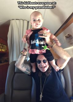 The Osbourne legacy… GRANDPARENTING DONE RIGHT - I think this is Jack's daughter Pearl... look at the little Black Sabbath top and tiny leggings!