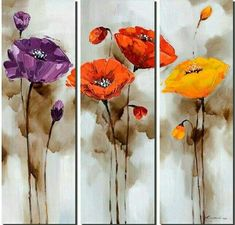 Flower Abstract Art, Bedroom Abstract Painting, 3 Piece Wall Art, Acry – Silvia Home Craft 3 Piece Canvas Art, 3 Piece Painting, 3 Piece Wall Art, Hand Painting Art, Canvas Wall Art, Large Painting, Poppy Flower Painting, Abstract Flower Art, Acrylic Painting Flowers