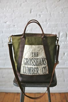 1940s era Canvas Leather Carryall - FORESTBOUND - A responsive Shopify theme...$140: